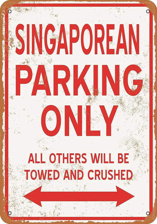 Singaporean Parking Only Metal Sign Vintage Retro Aluminum Sign Wall Plagues Bar Pub Cafe Home Wall Decoration, 12