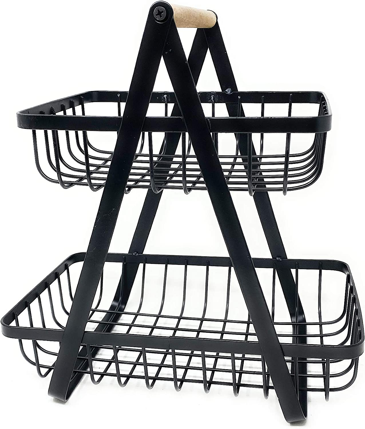 THE NIFTY NOOK Farmhouse 2-Tier Metal Fruit Storage Basket Organizer Display Stand For Home Decoration (Black)