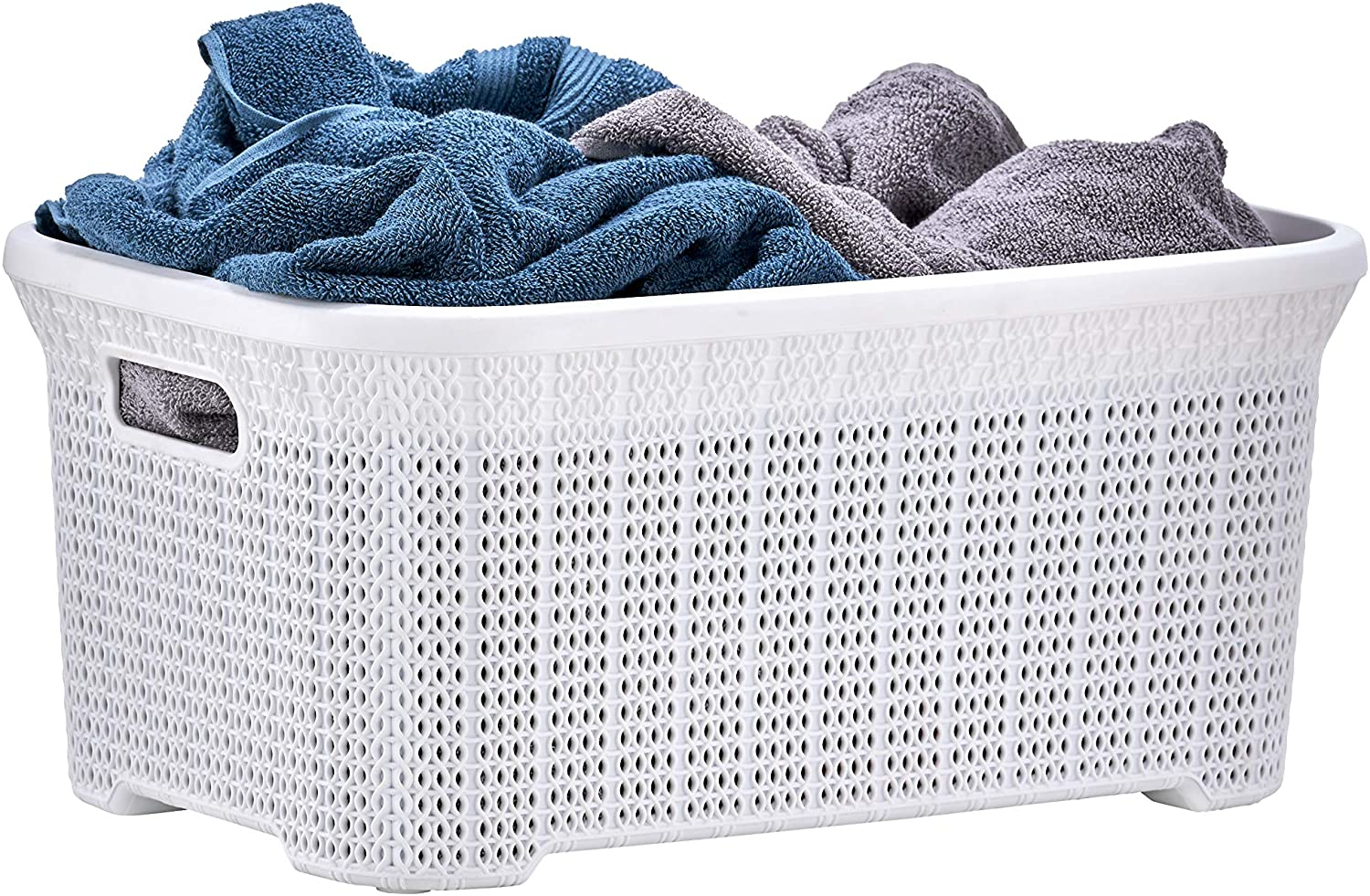 Superio Laundry Basket Knit Style, White 40 Liter Laundry Bin for Dirty Cloths - 1.15 Bushel
