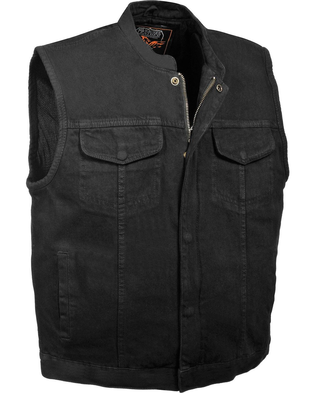 Milwaukee Leather Men's Concealed Snap Denim Club Vest 4X Black 4X