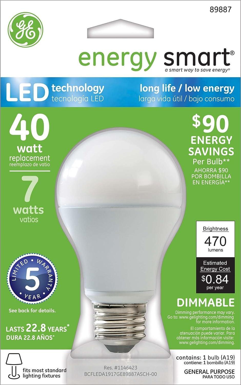 GE Lighting 89887 Energy Smart LED 7-watt (40-watt equivalent) 470-Lumen A19 Light Bulb with Medium Base, 1-Pack - Close To Ceiling Light Fixtures - Amazon. ...