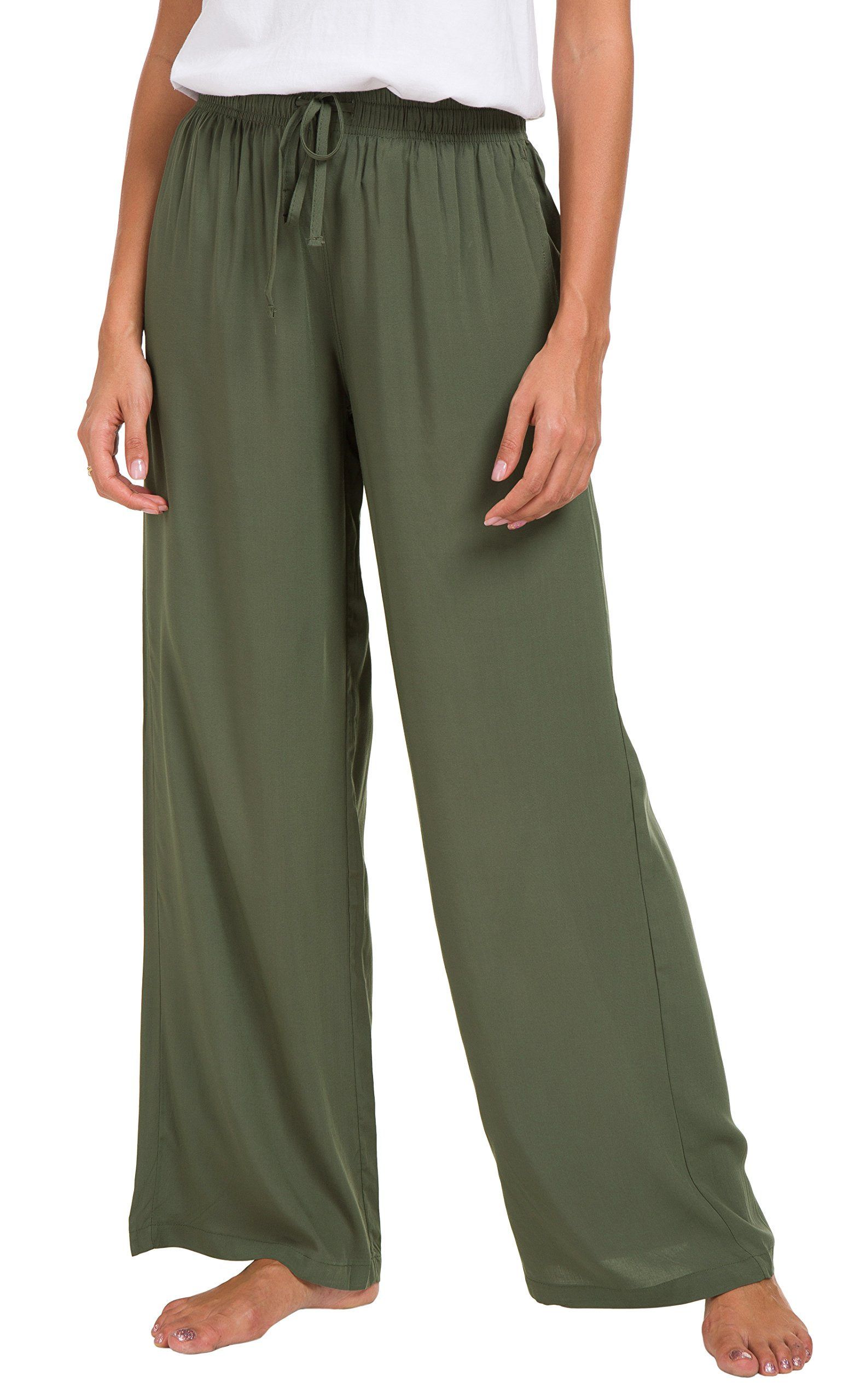 Urban CoCo Women's Solid Color Drawstring Lounge Pants (M, Army Green)