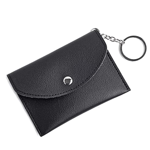 db63c76bd Women Coin Purses - Slim Keychain Wallet Mini Card Holer With Key Ring Black