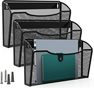MaxGear Mesh File Holder Wall Organizer 3 Pockets Hanging File Organizers Wall Mounted Paper Organizer Holders Wall Bins for Office and Home, Black