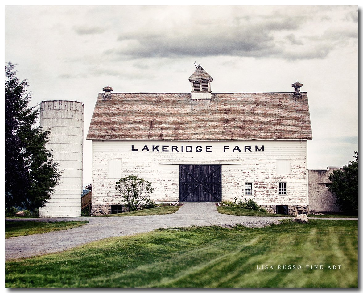Fixer Upper Style Wall Art Rustic Country Decor Photo of Old White Lakeridge Barn