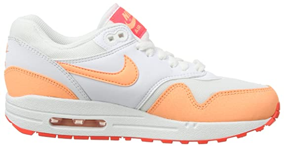 new styles 9d180 1b424 Amazon.com   Nike Womens Air Max 1 Essential White HOT Lava Sunset Glow  599820-114 10   Road Running