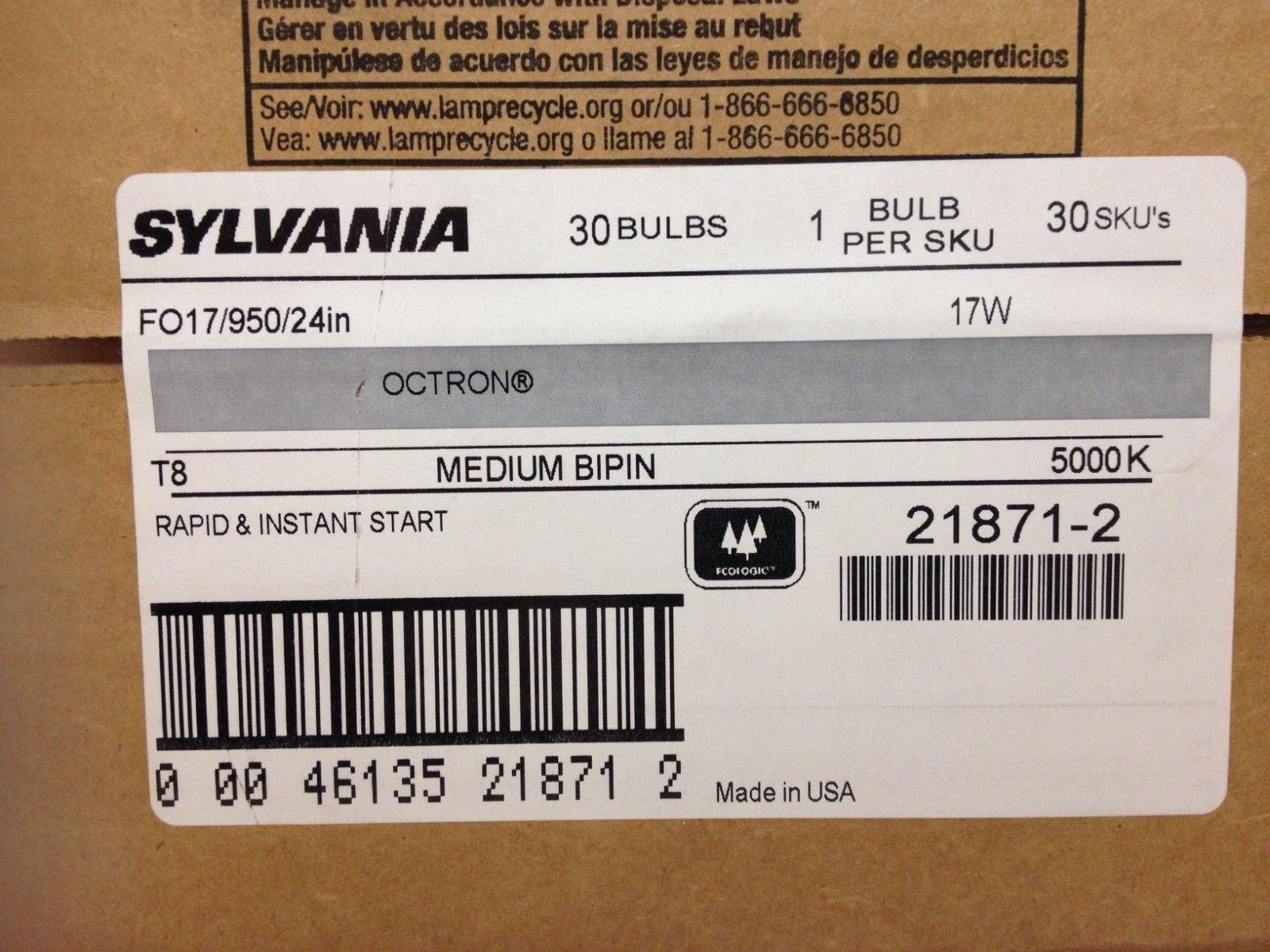 30 Sylvania 21871 FO17/950/24in 17W T8 5000K Medium Bipin Rapid Instant Start