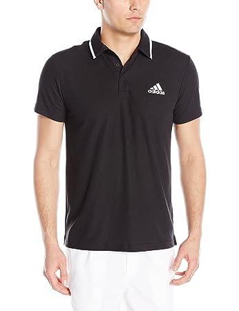 adidas Men's Tennis Essex Polo Shirt, Black/Black, X-Small