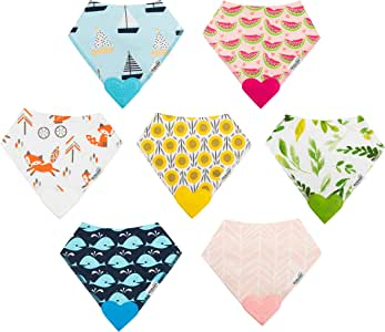 ROBABY Quality Designer Baby Bibs with Teether – Bargain – 7 Pack – Baby Boy Girl - Drool Bibs for Teething Baby – Gift Set - Bandana Bibs Style with Pacifier