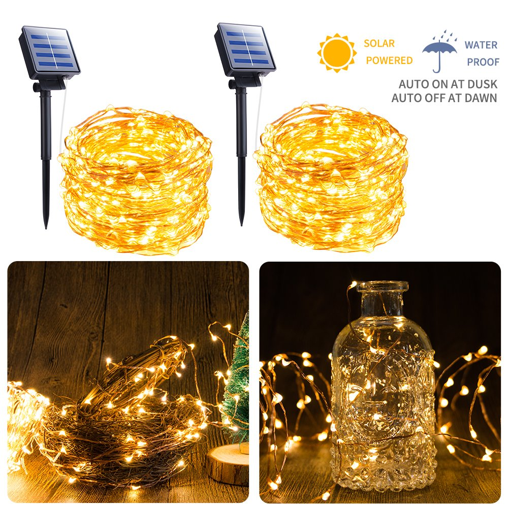 Moonflor Solar Fairy String Light, 2 Pack 100 LED 8 Modes Copper Wire Lights Waterproof Outdoor String Lights Indoor/Outdoor, Gardens, Patio, Wedding, Bedroom, Christmas Party Decoration, Warm White