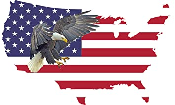 Rogue River Tactical Large American Eagle Flag Country Outline USA  Patriotic Stars and Stripes Auto Bumper Sticker Vinyl Decal for Car Truck  RV SUV