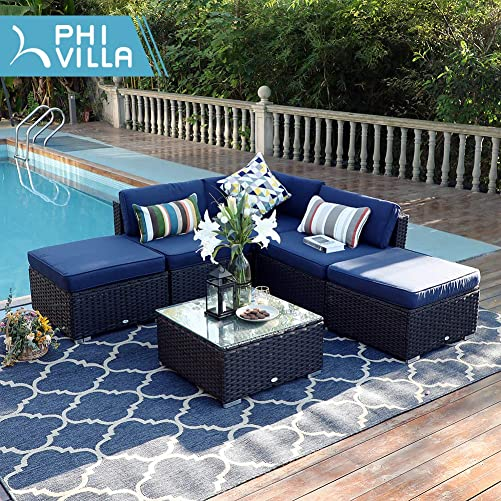 PHI VILLA Outdoor Rattan Sectional Sofa- Patio Wicker Furniture Set 6-Piece 3