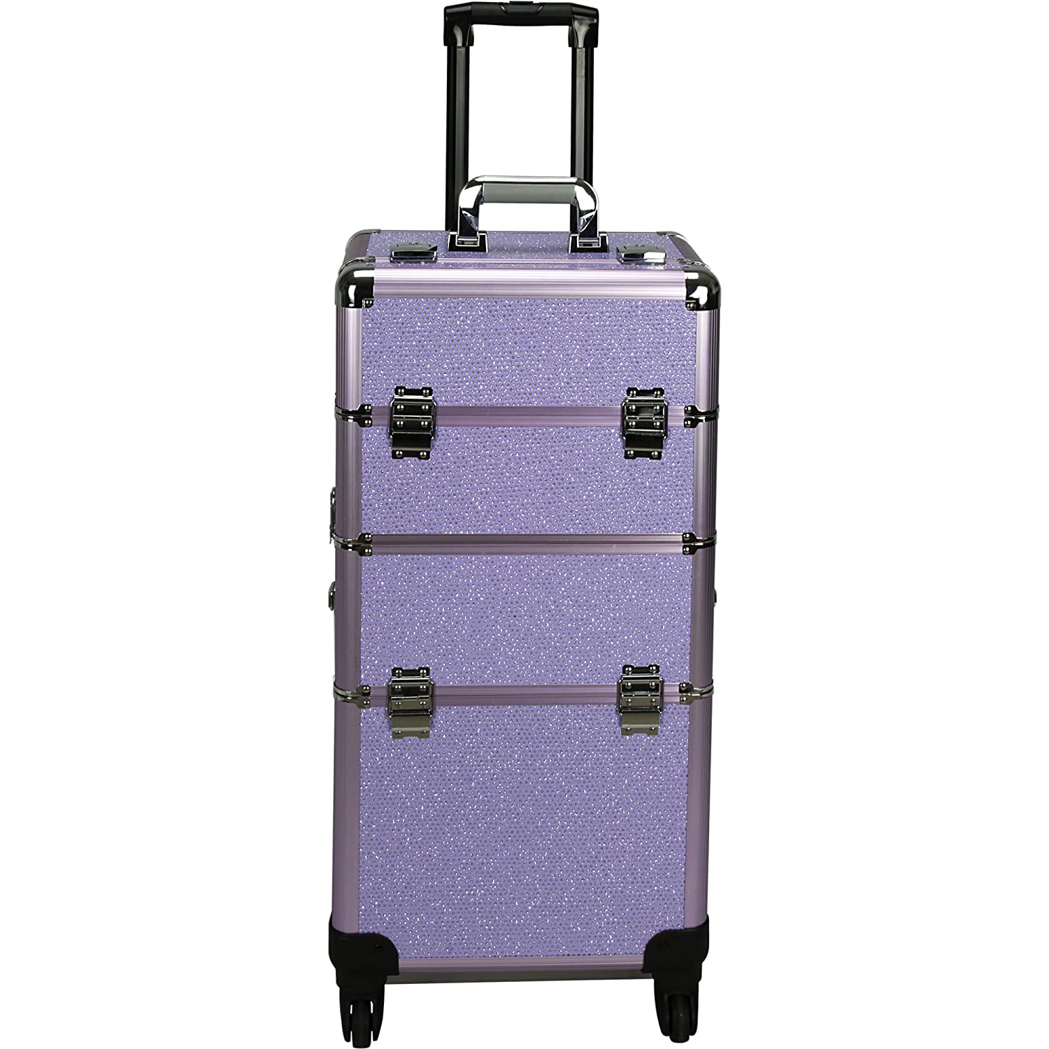 Hiker HK6501 4-Wheels Professional Rolling Aluminium Cosmetic Makeup Case and Easy-Slide and Extendable Trays with Dividers, Purple Krystal, 22 lb