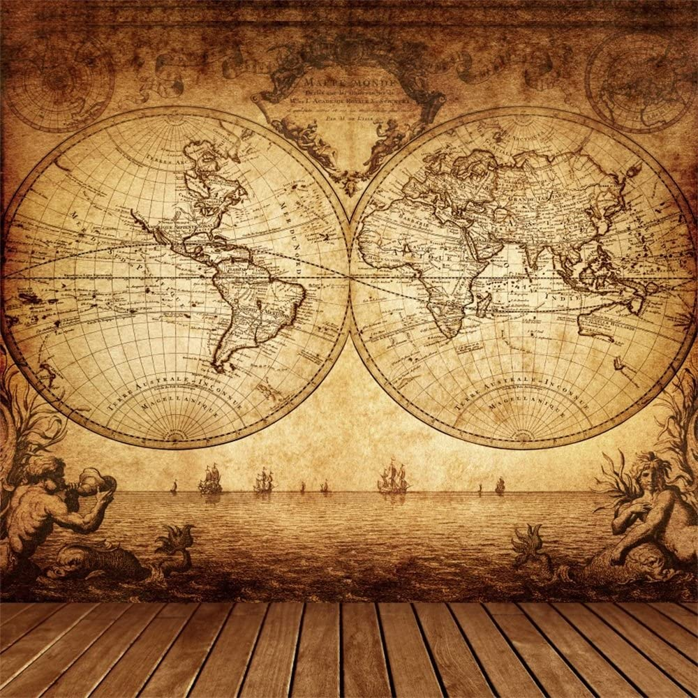 Nautical 8x10 FT Photo Backdrops,Double Exposure Vintage Graphic with Old World Map A Nostalgic Sailboat Compass Concept Background for Child Baby Shower Photo Vinyl Studio Prop Photobooth Photoshoot