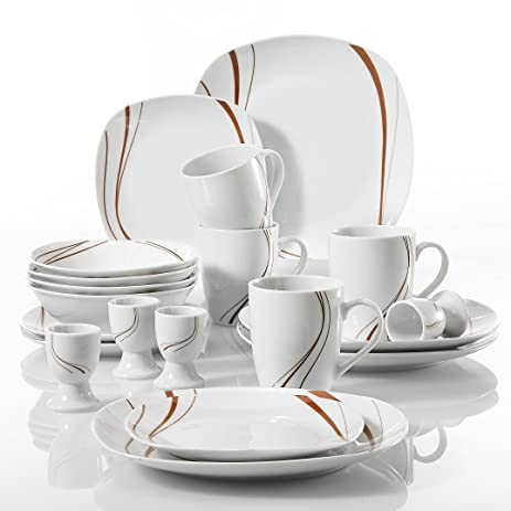 VEWEET BONNIEu0027 20-Piece Ivory White Porcelain Red Lines Tabletop Dinnerware Combi Sets of  sc 1 st  Amazon.com & Amazon.com | VEWEET BONNIEu0027 20-Piece Ivory White Porcelain Red Lines ...