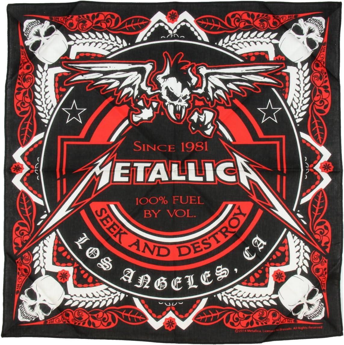 Metallica, Seek & Destroy Full Logo de diseño Negro de algodón BANDANA: Amazon.es: Deportes y aire libre