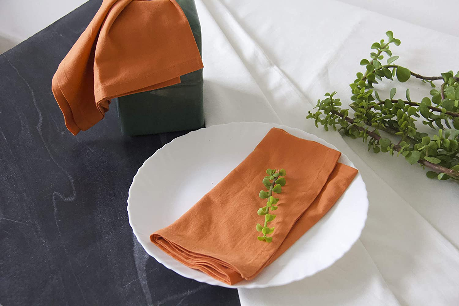 18x18 Inches Reusable Linens For Dinner Weddings Events 100 Natural Taran Orange Cotton Dinner Napkins Set Of 12