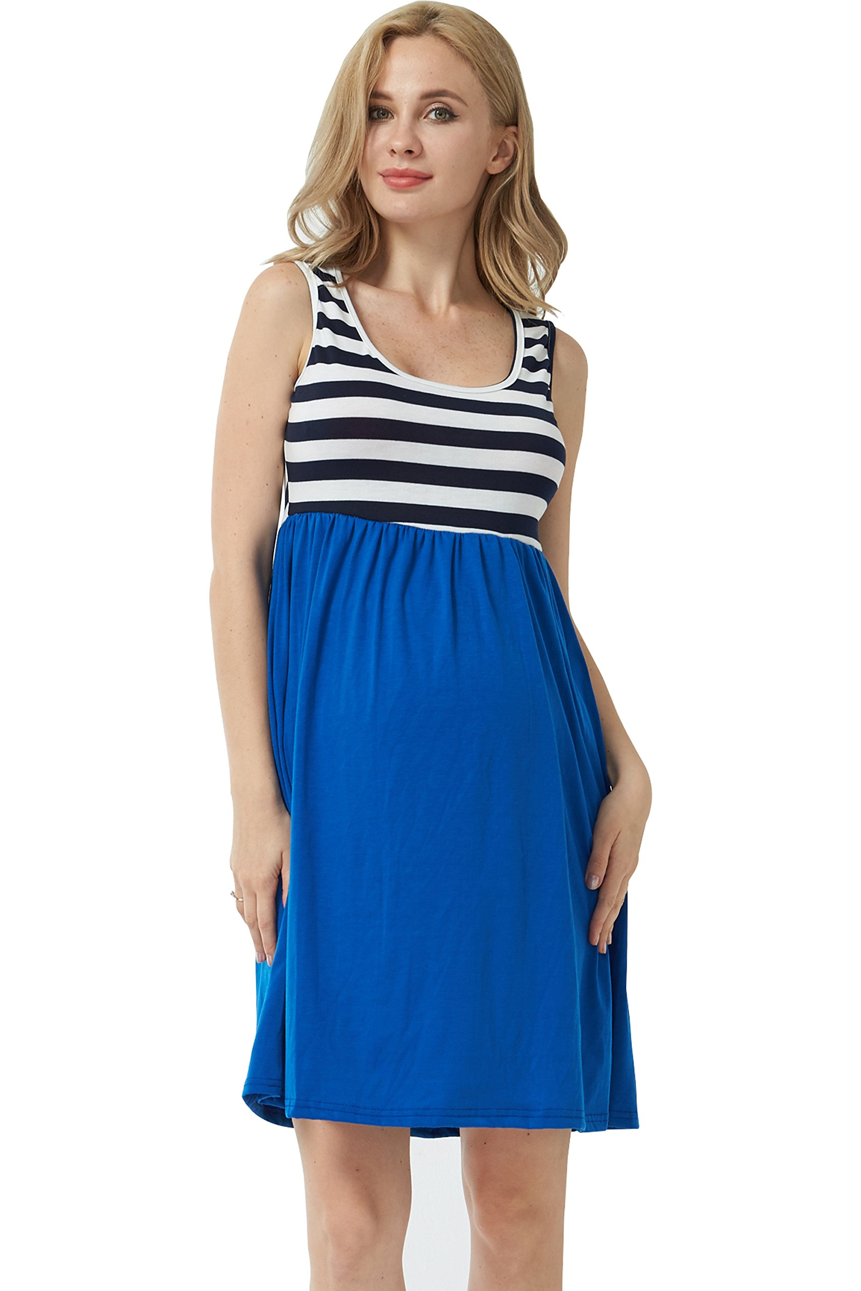 MANNEW Maternity Maxi Dress Pregnancy Tank Tops Knee Length Stitching Color Block Stripe Skirt (Blue, X-Large) by MANNEW (Image #2)