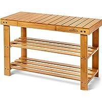 Homemaid Living Bamboo 3-Tier Shoe Rack Bench (Natural Bamboo)