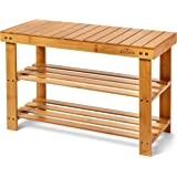 Homemaid Living Bamboo 3 Tier Shoe Rack Bench, Premium Shoe Organizer or Entryway Bench, Perfect for Shoe Cubby, Entry…
