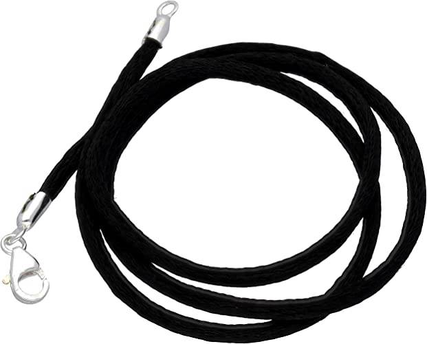 """Black Silk Cord Chain Necklace Sterling Silver Clsp 30/"""""""