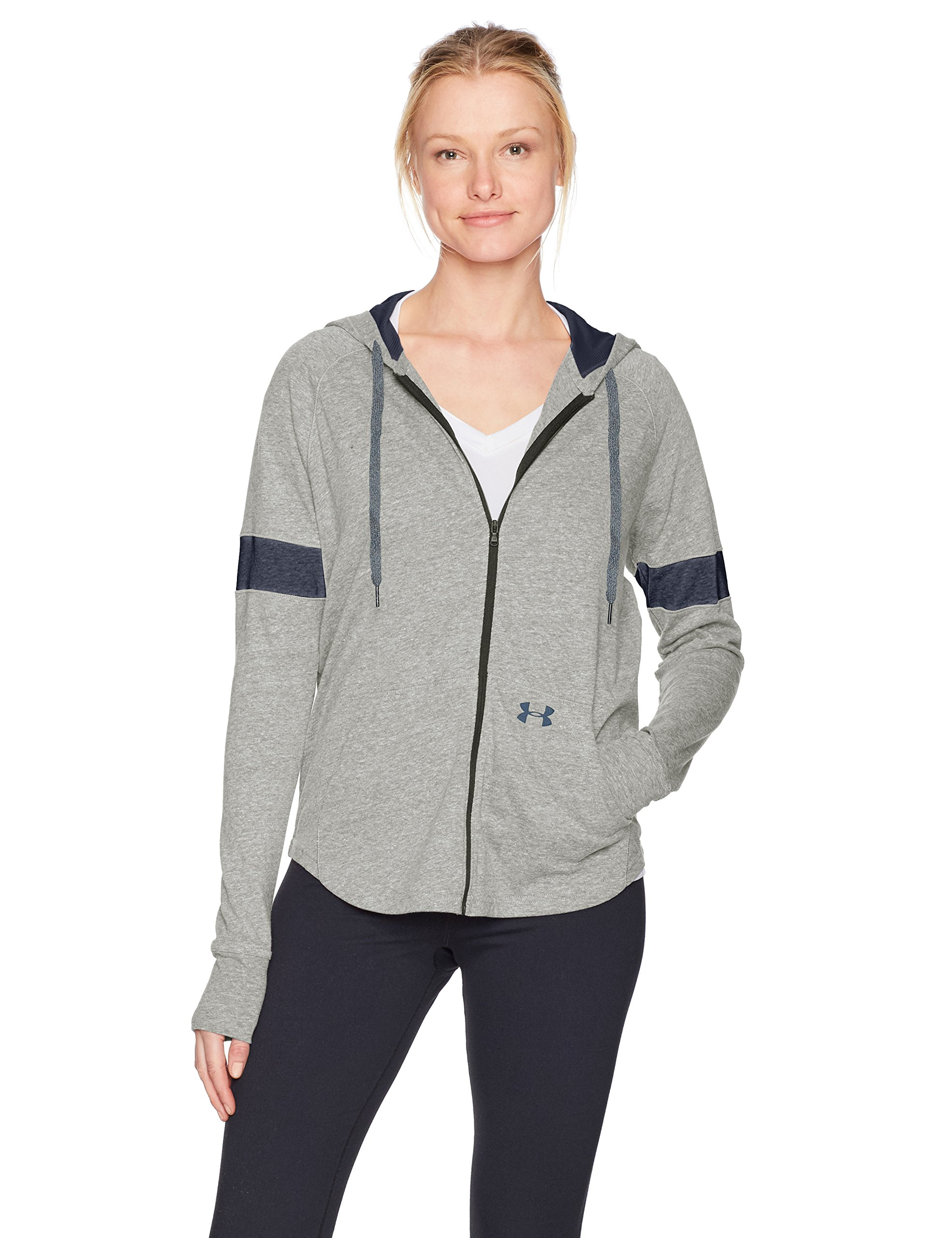 Under Armour Women's Sportstyle Full Zip Hoodie, Charcoal (019)/Midnight Navy, X-Large by Under Armour