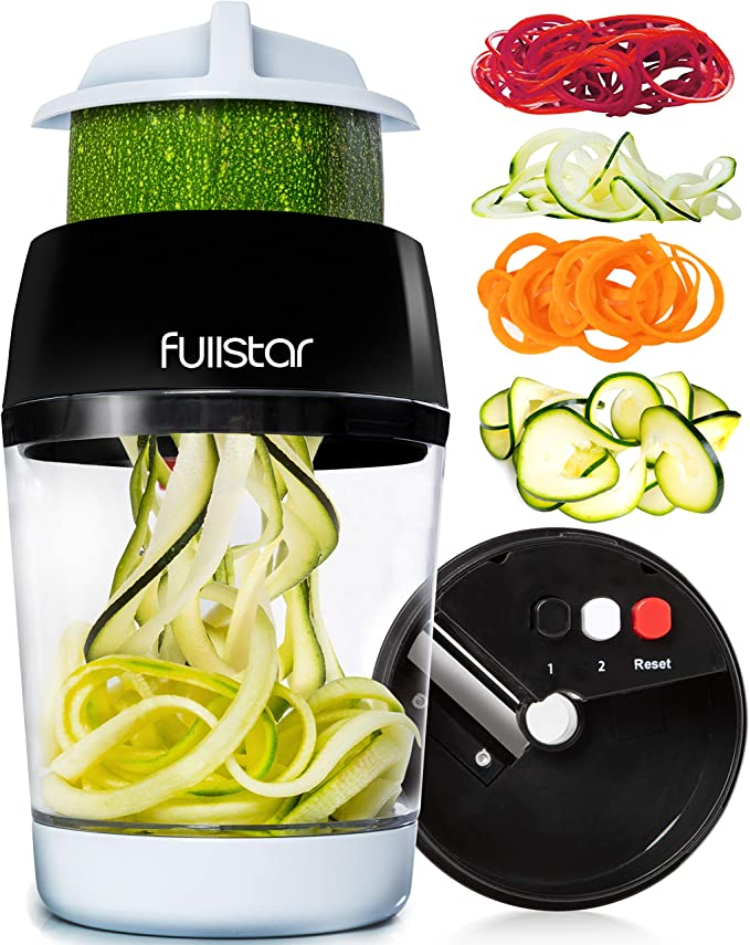 Amazon.com: Fullstar Vegetable Spiralizer Vegetable Slicer - 4 in 1 Zucchini Spaghetti Maker Zoodle Maker Veggie Spiralizer Adjustable Handheld Spiralizer Zucchini Noodle Maker Zucchini Spiralizer with Container: Kitchen & Dining