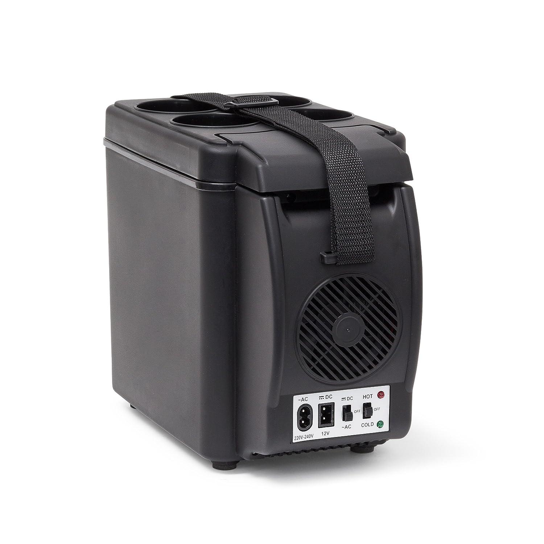 Relaxdays Kü hlbox elektrisch, 6l Isolierbox fü r Auto, Tragegurt, Warmhaltebox 12V 230V, HxBxT: 27 x 18 x 33 cm, schwarz 10020040