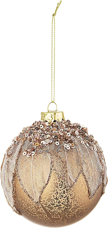 BIZZOTTO Palle di Natale in Vetro Foliage Rosa con Paillettes Set 4 Pz Palline ⌀ 80 mm Addobbi Natalizi Ornamento Albero