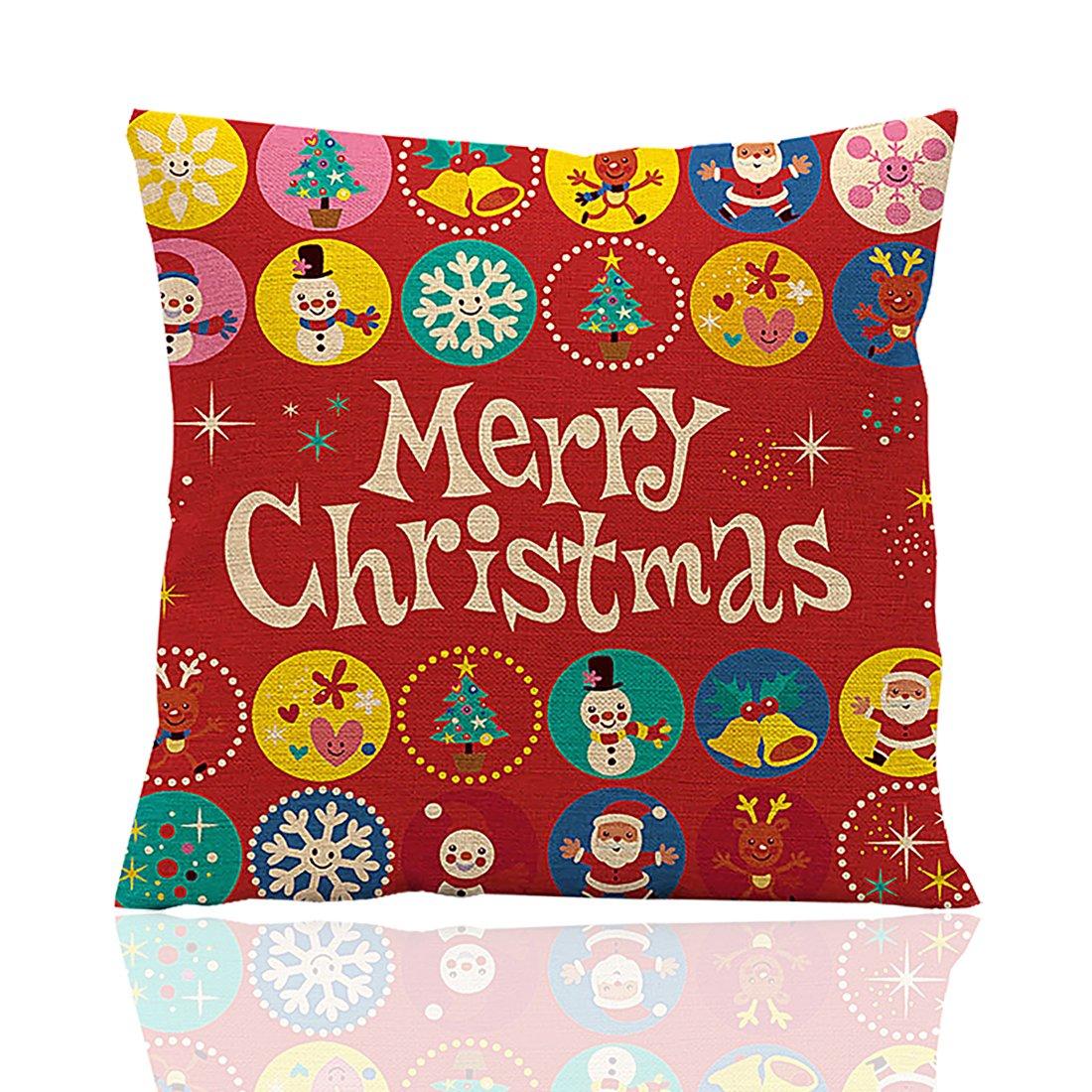 ME COO Deep red Christmas Series The OWL Standing on The Christmas Tree Hug Pillow Covers Decorative Pillow Covers Standard Pillow coer 18 Inches × 18 Inches 1Pcs