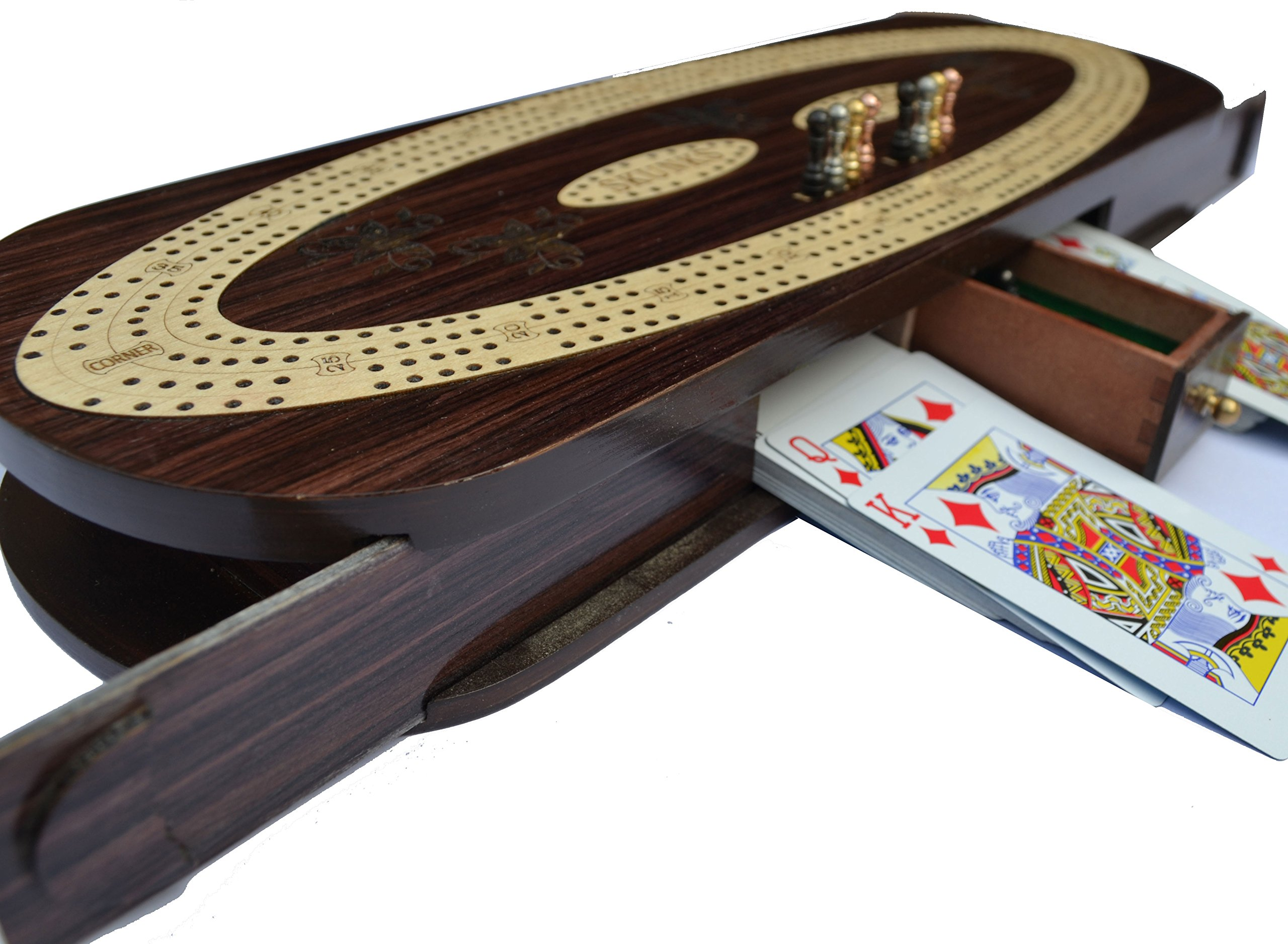 Christmas Gifts 4 Track Cribbage Board Game Set with 12 Metal Pegs, 2 Decks Of Cards, 12 Metal Pegs With Storage