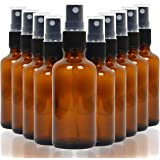 Youngever 10 Pack Empty Amber Glass Spray Bottles, 4 Ounce Refillable Container for Essential Oils, Cleaning Products, or Aro