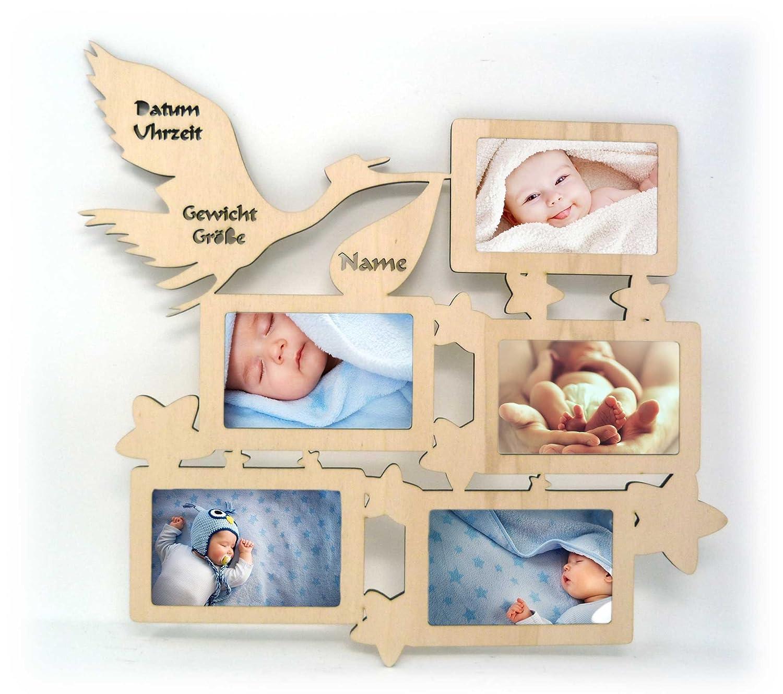 Wand Bilderrahmen Bilder Collage mit Namen und Geburtsdaten zur ...