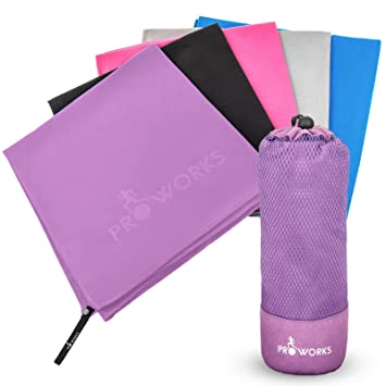 Toalla de microfibra proworks | toalla ligera y de secado rápido para deportes, baño, playa con bolsa de viaje compacta: Amazon.es: Deportes y aire libre
