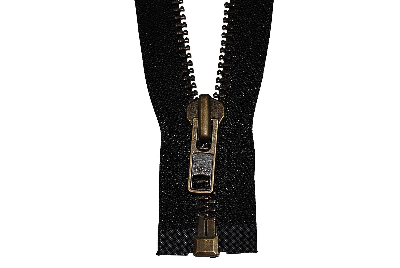 Reißverschluss starker 8 mm 1 Weg teilbar schwarz 80 cm Metall Metallzähne MIG