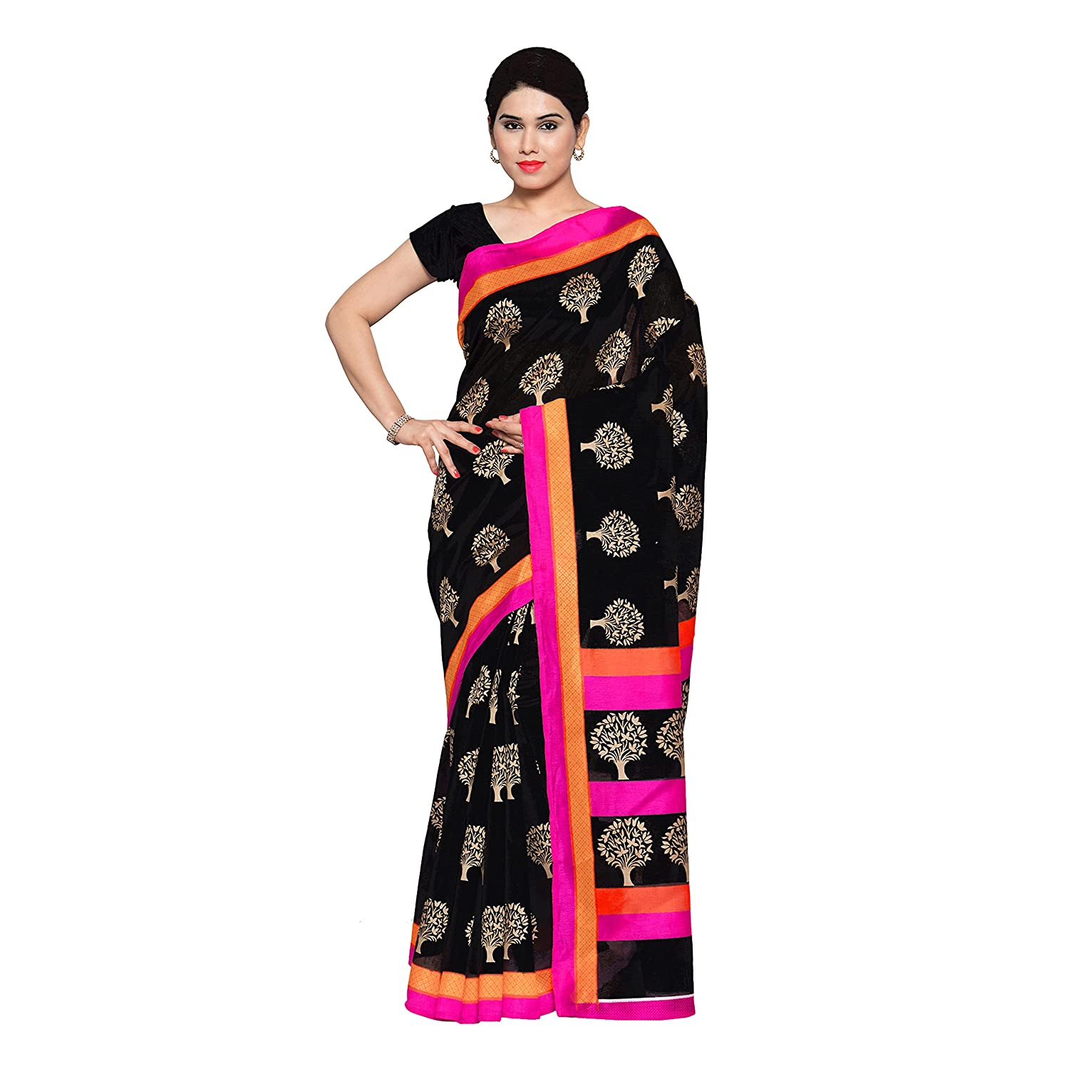 ac4b4192f644c1 Art Silk Saree with Blouse Piece (anjani Jet Black   Oatmeal Beige   Hot  Pink Free Size)  Amazon.in  Clothing   Accessories