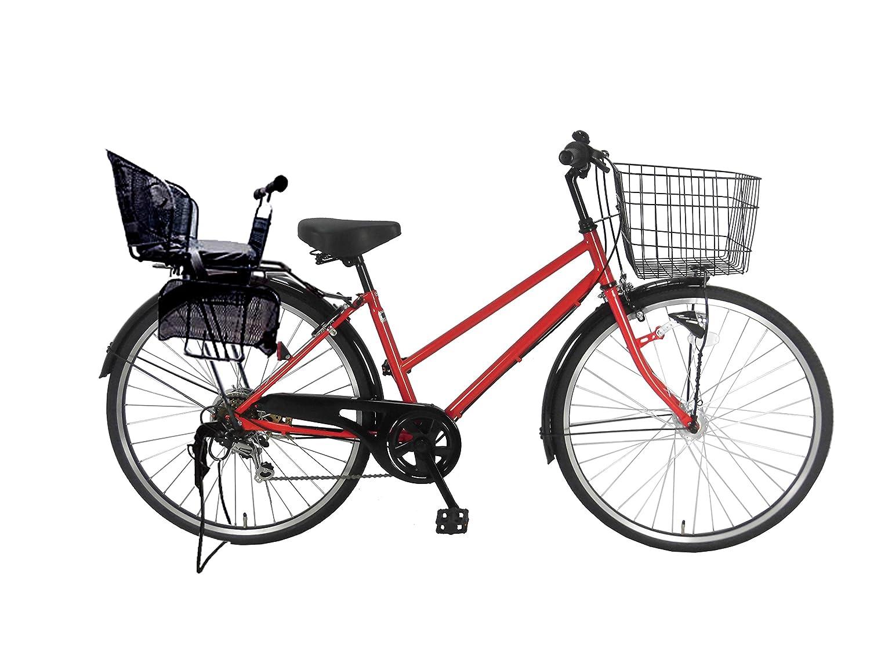 Lupinusルピナス 自転車 26インチ LP-266TA-knr-b シティサイクル シマノ製外装6段ギア オートライト 後子乗せブラック B0797MK1RL スカーレットレッド スカーレットレッド