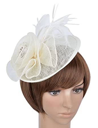 Amazon.com  Womens Fascinator Hat with Headband Feather Mesh Flowers ... 1040c494d21