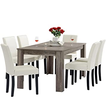 [en.casa]®] Set de Comedor Mesa Oslo (Antigua - 160x90) 6 sillas (tapizadas - Crema) - Set Ahorro