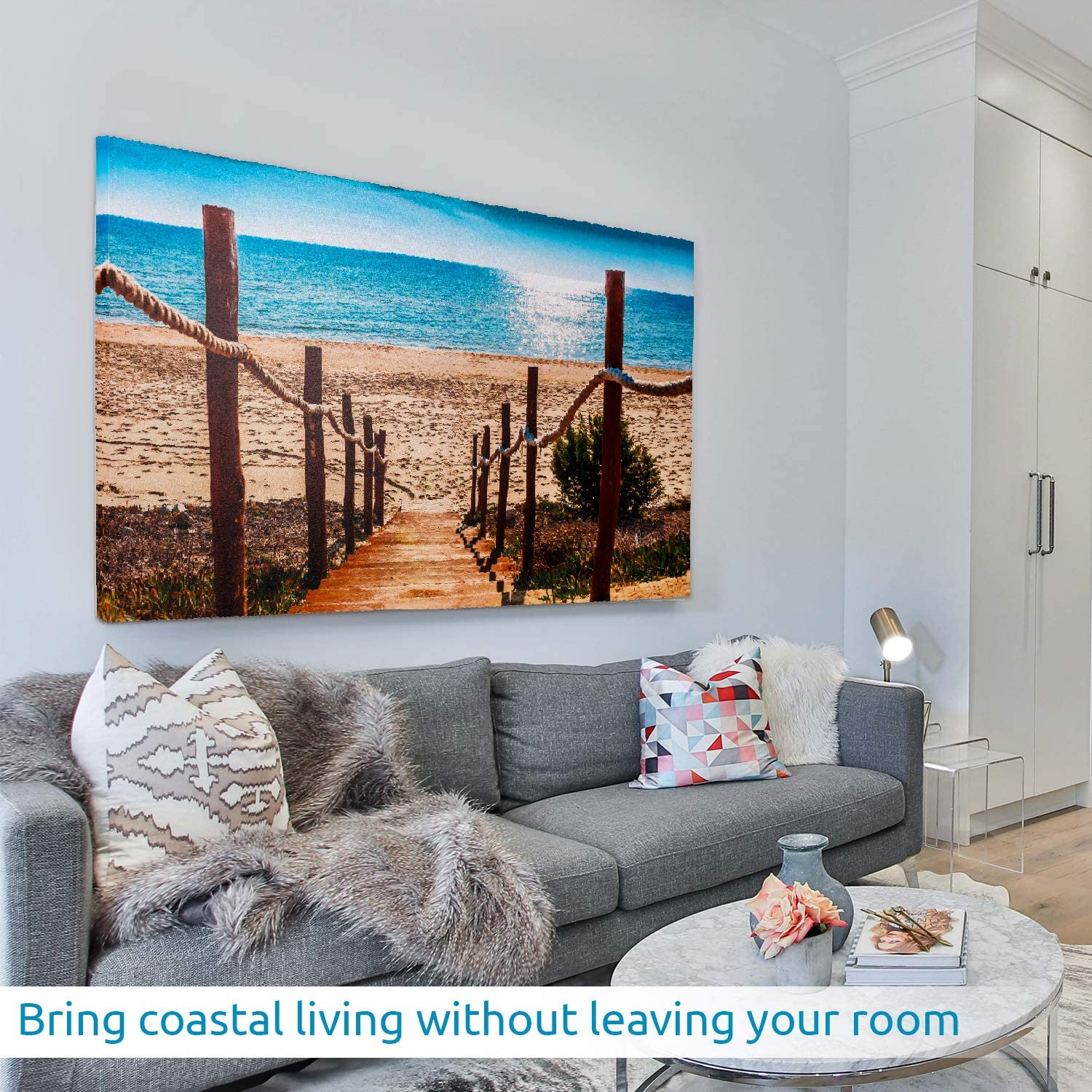 Wynniece Waterfront Boardwalk Beach Decor | Tropical Ocean Canvas Wall Art | Coastal Themed Decoration | Perfect Picture for Your Home, Beach House, Office, or Vacation Rental