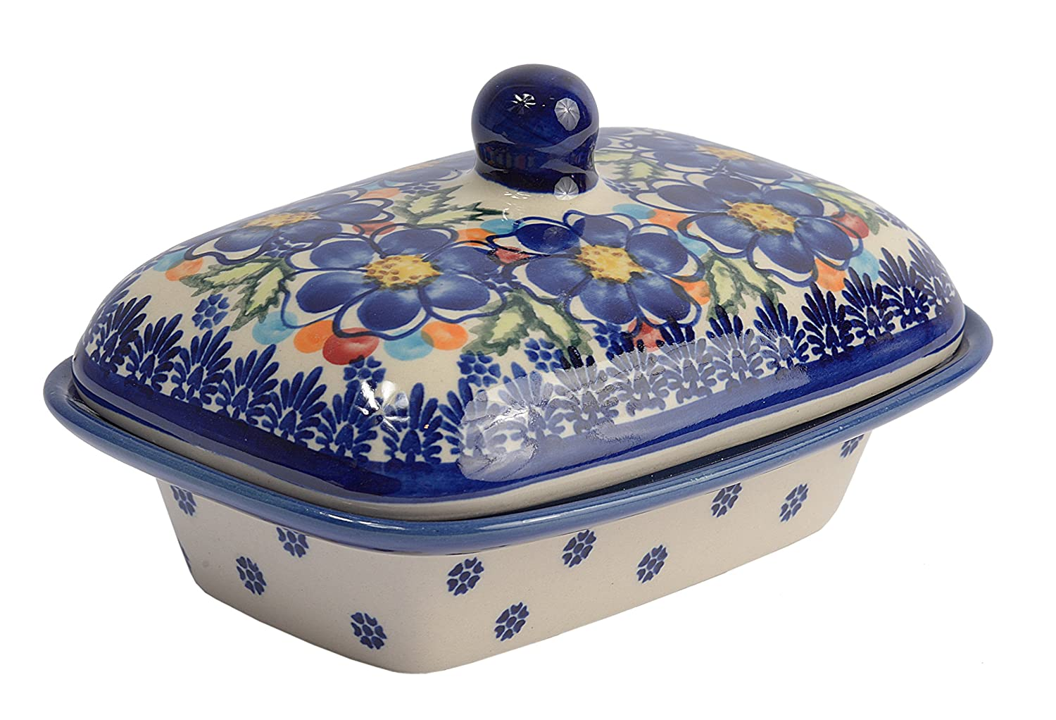 BCV Classic Boleslawiec, Polish Pottery Hand Painted Stoneware, Ceramic Butter Dish with lid 066 (T-001) BCV Boleslawiec Pottery 066-T-001-Q1