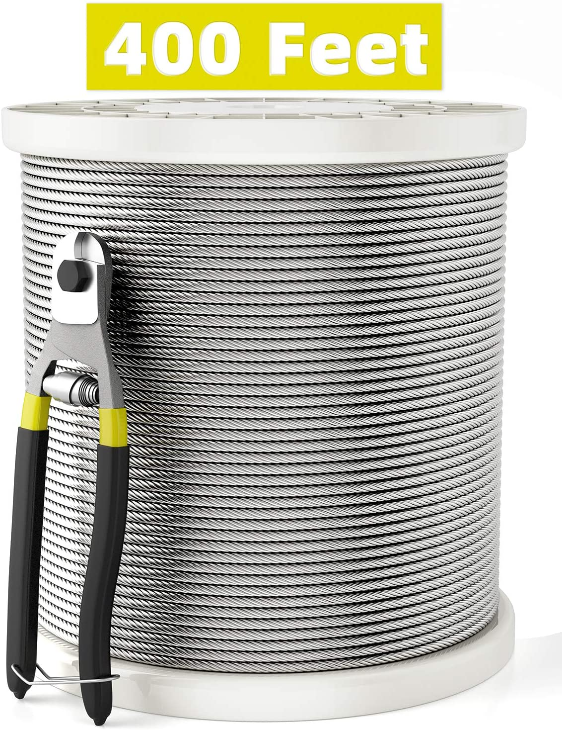 HOSOM 1/8 Stainless Steel Cable with Cutter, T316 Aircraft Cable for Deck Railing, 400FT