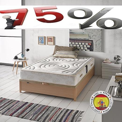 Saemon Colchon Viscoelastico 135x180 Todas Las Medidas. Ultra Confort. Fabricado en España. Antiacaros. 75% DE Descuento: Amazon.es: Hogar