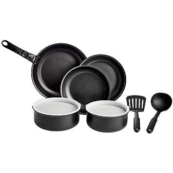 AmazonBasics - Juego de utensilios de cocina de 10 piezas con tapas y mango desmontable: Amazon.es: Hogar