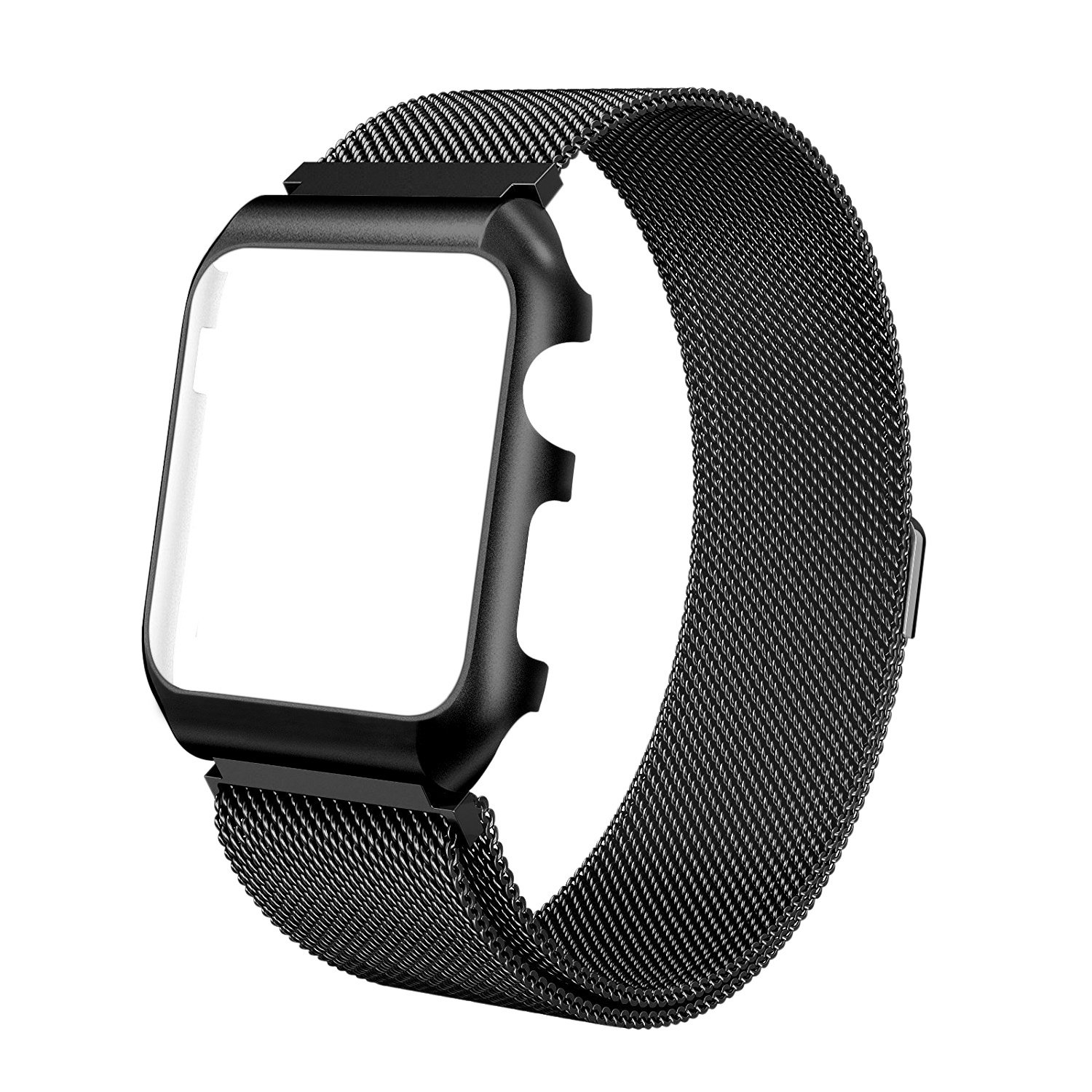 For Apple Watch Band 42mm Milanese Loop Stainless Steel Replacement Band with Metal protective Case Band for Apple Watch Series 3 Series 2 Series 1 Sport & Edition (Black, For apple watch 42mm)
