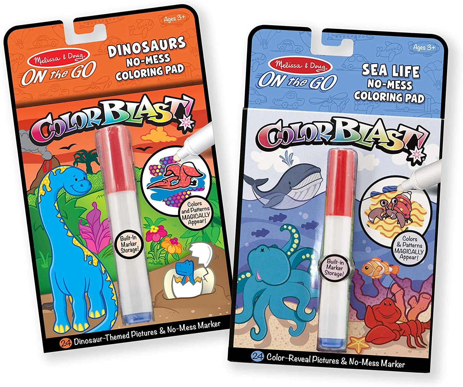 Melissa & Doug On the Go ColorBlast No-Mess Coloring Pad 2-Pack, Sea Life,  Dinosaurs (24 Pictures, Invisible Ink Marker, Great Gift for Girls and Boys  ...