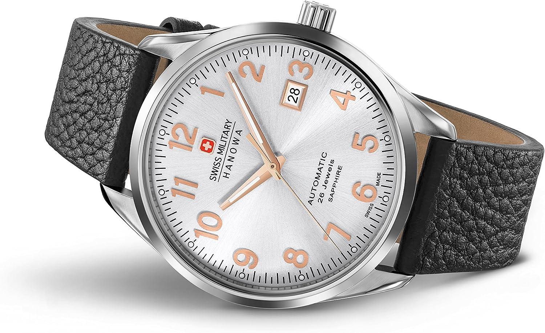 Swiss Military Hanowa Reloj Analógico para Hombre de Automático con Correa en Cuero SM05-4287-04-001