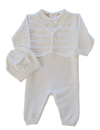 736b89863 Boutique Collection Baby Boys' Christening Outfit with Attached Vest and  Hat, 3M White