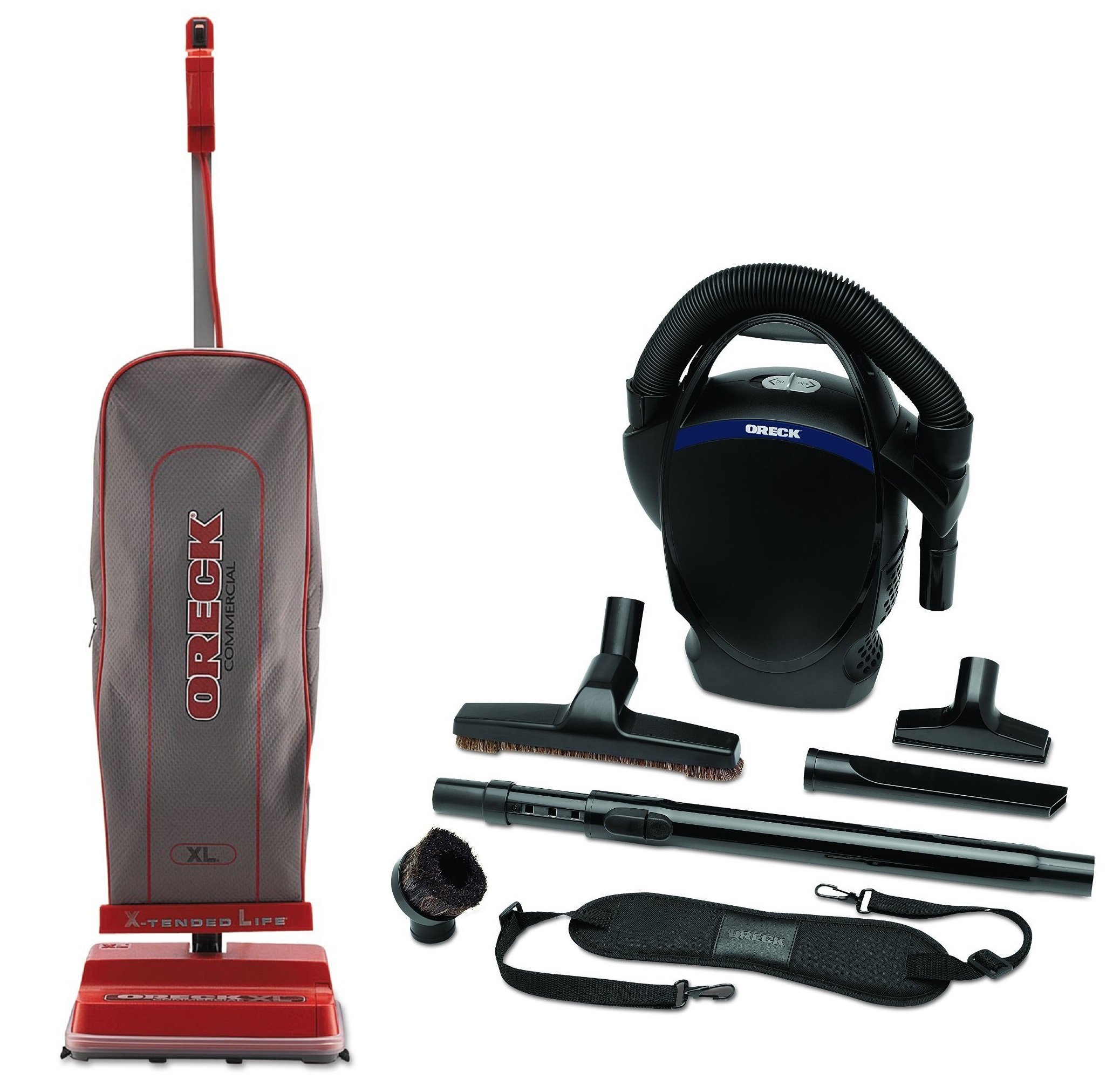Oreck Commercial U2000R-1 120 V Red/Gray Upright Vacuum Bundle with Oreck Ultimate Handheld Bagged Canister Vacuum CC1600