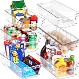 Set of 6 Refrigerator Pantry Organizers-Includes 6 Organizers (5 Drawers & 1 Egg Holding Tray)-Stackable Organizers for Freezers, Countertops and Cabinets-BPA Clear Plastic Pantry Storage Racks